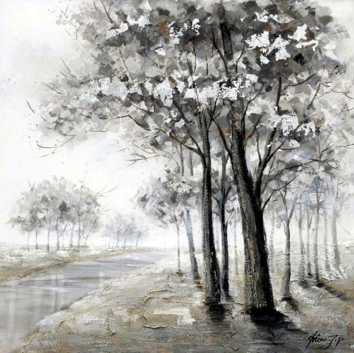 Landschappen Schilderijen: Schilderij grijs landschap met sloot 100x100