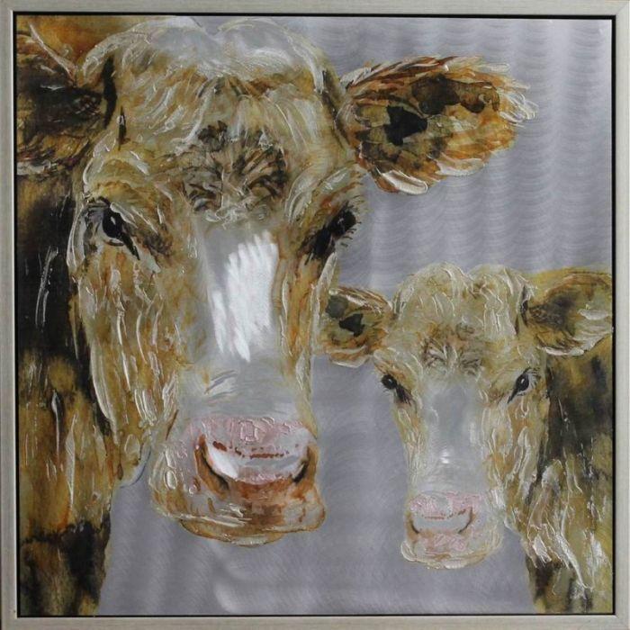 Dieren Schilderijen: Schilderij bruine landelijke koe 100x100