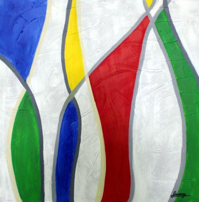 Moderne Schilderijen: Schilderij moderne kleurrijke unieke vormen 100x100