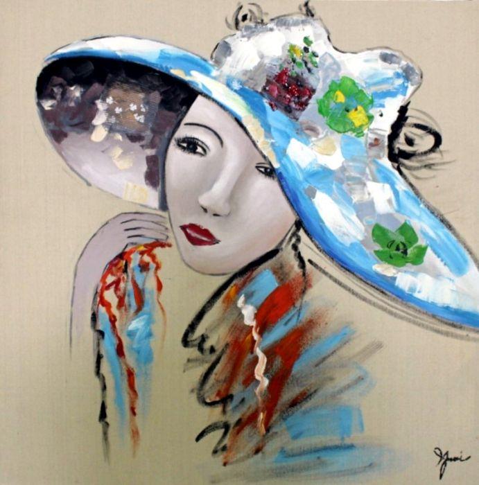Figuratieve Schilderijen: Schilderij moderne kleurrijke vrouw 100x100