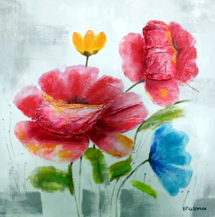 Bloemen Schilderijen: Schilderij bonte bloemen 100x100