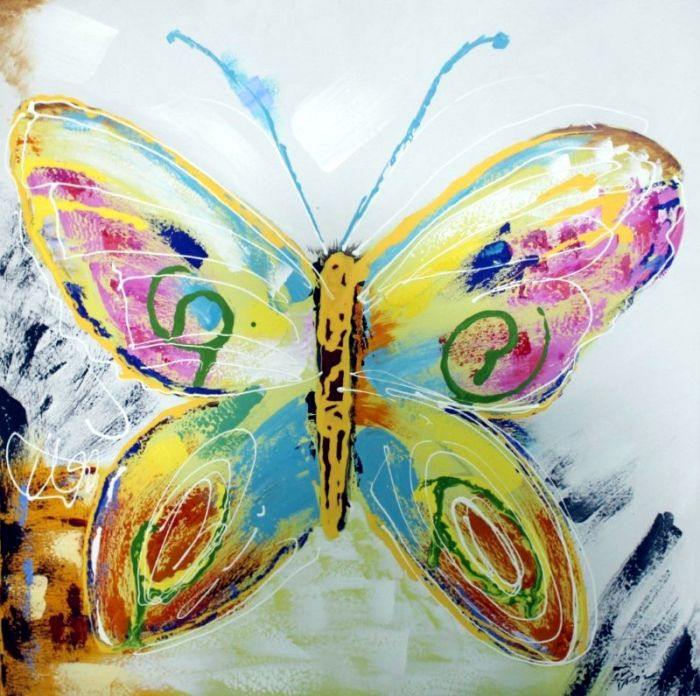 Dieren Schilderijen: Schilderij bonte vlinder 100x100