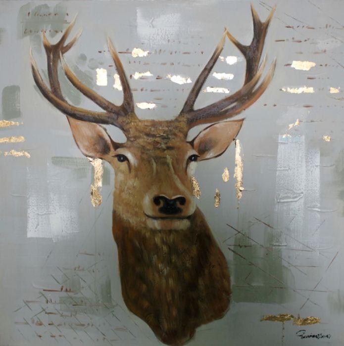 Dieren Schilderijen: Schilderij bruin hert 100x100