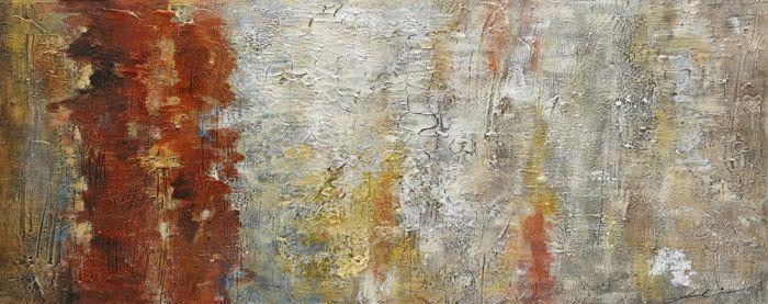 Abstracte Schilderijen: Structuur Bordeaux Rood Schilderij