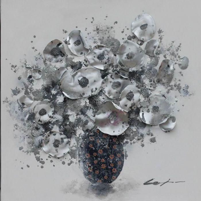 Bloemen Schilderijen: Schilderij olieverf moderne 3D bloemen 80x80