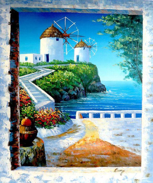Landschappen Schilderijen: Rhodos Stad Schilderij