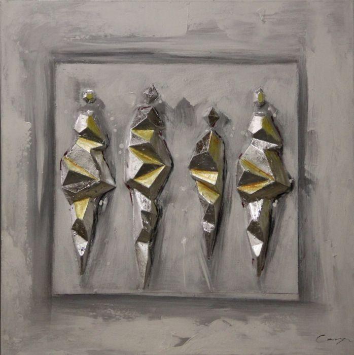 Moderne Schilderijen: Schilderij olieverf zilver gouden kristallen 80x80