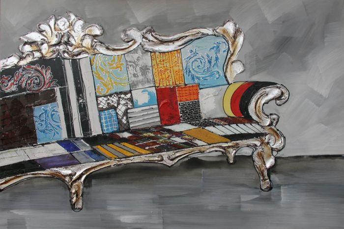 Kleurrijke Schilderijen: Kleurrijke Klassieke Bank Schilderij