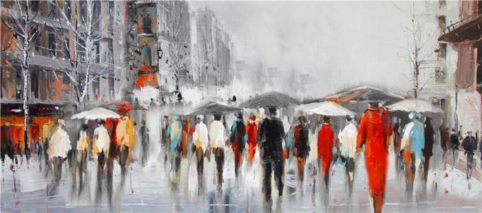 Figuratieve Schilderijen: Olieverf schilderij stedelijke paraplu mensen