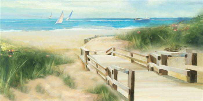 Landschappen Schilderijen: Olieverf schilderij strandduinen brug