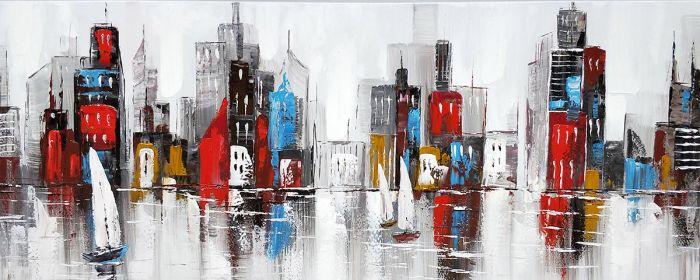 Landschappen Schilderijen: Olieverf schilderij stedelijke stadsgrens met zeilboten