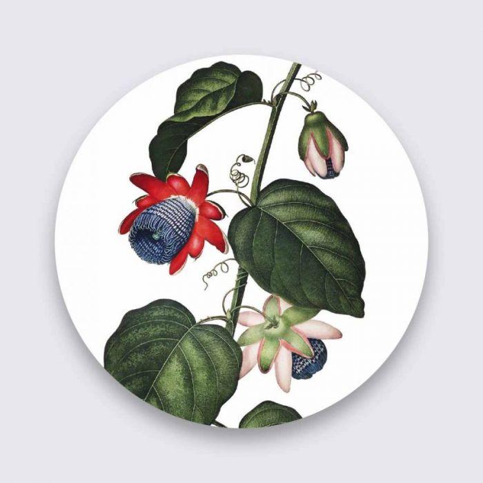 Bloemen Schilderijen: Rode Roze Bloemen Tak Wandkraft Collectie Pure Metal Schilderijen
