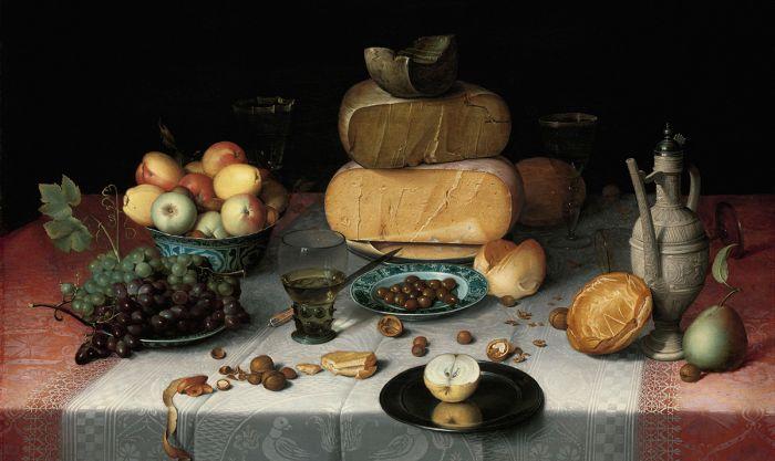 Eten & Drinken Schilderijen: Kazen Appels Druiven Noten Floris Claez Van Dijk Replica Wandkraft Dutch Masters Collectie