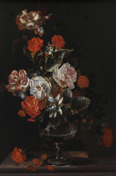 Bloemen Schilderijen: Replica Jacob Campo Weyerman Stilleven Van Bloemen Collectie Dutch Masters Wandkraft