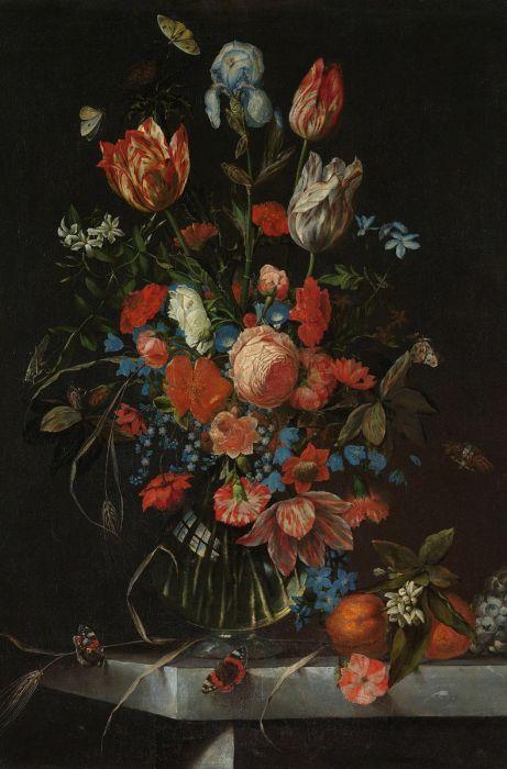 Bloemen Schilderijen: Foto Van Stilleven Bloemen In Vaas Jan Davidsz Wandkraft Dutch Masters Collectie