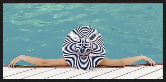 Zwembad Vrouw Met Hoed Summer Time Collectie Wandkraft Forex Schilderij
