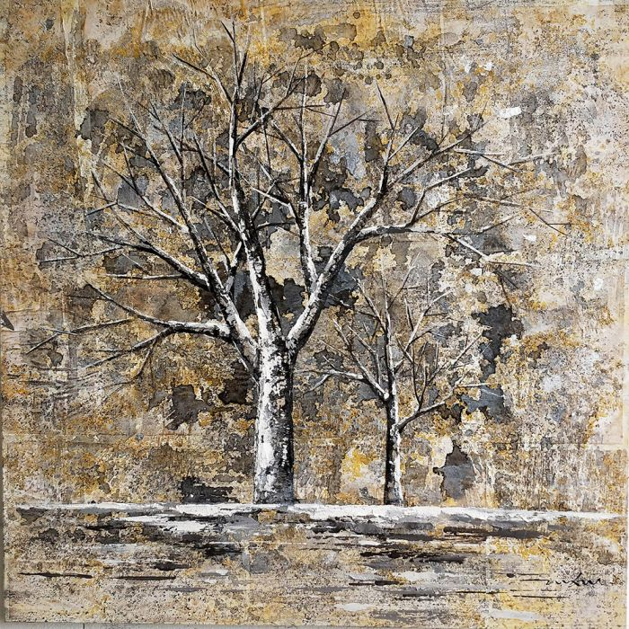 Natuur Schilderijen: Olieverf schilderij twee beige bomen