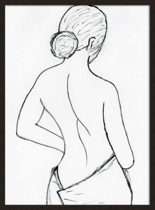 Figuratieve Schilderijen: Knotje Handdoek Vrouw FineLine Art Wandkraft Forex Collectie 60x80