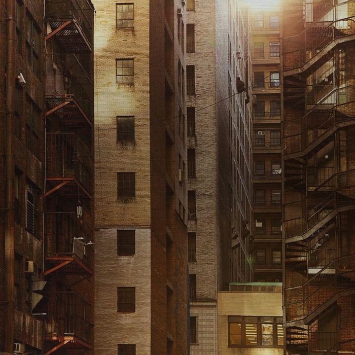 Foto Kunst Schilderijen: Flatgebouwen Sepia Kleuren Appartementen Industrieel Urban City Wandkraft Rvs Schilderij