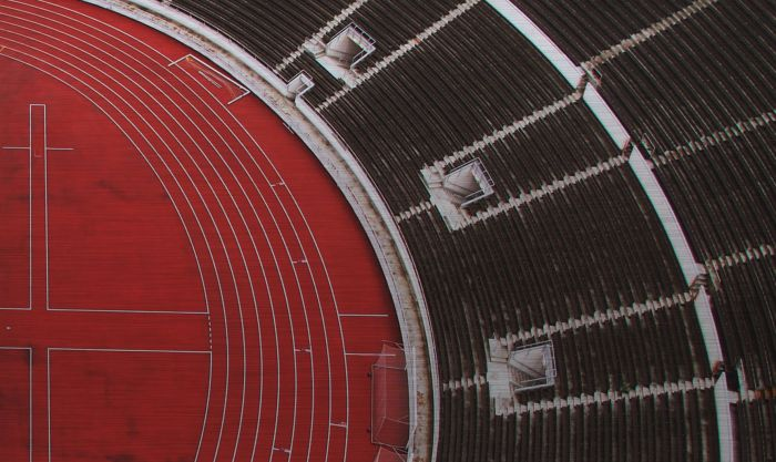 Foto Kunst Schilderijen: Stadion Zwart Rood Rhythm Of The City Wandkraft Rvs Collectie Schilderij