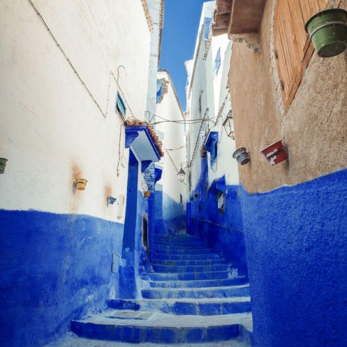 Foto Kunst Schilderijen: Straten Morocco Chefchaouen Turquoise Witte Huizen