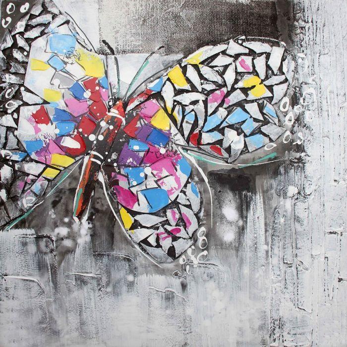 Moderne Schilderijen: Schilderij olieverf kleurrijke grijze vlinder 80x80
