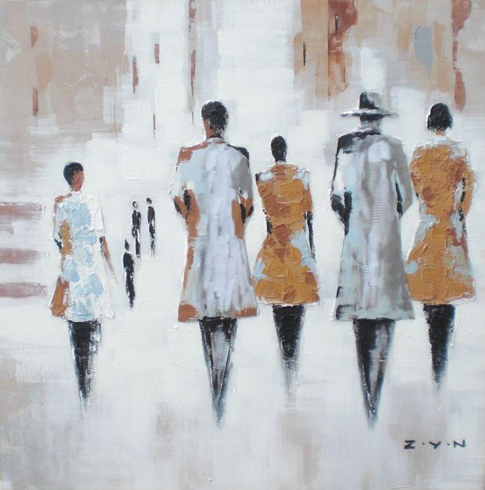 Figuratieve Schilderijen: Schilderij Wandelende Mensen 80x80
