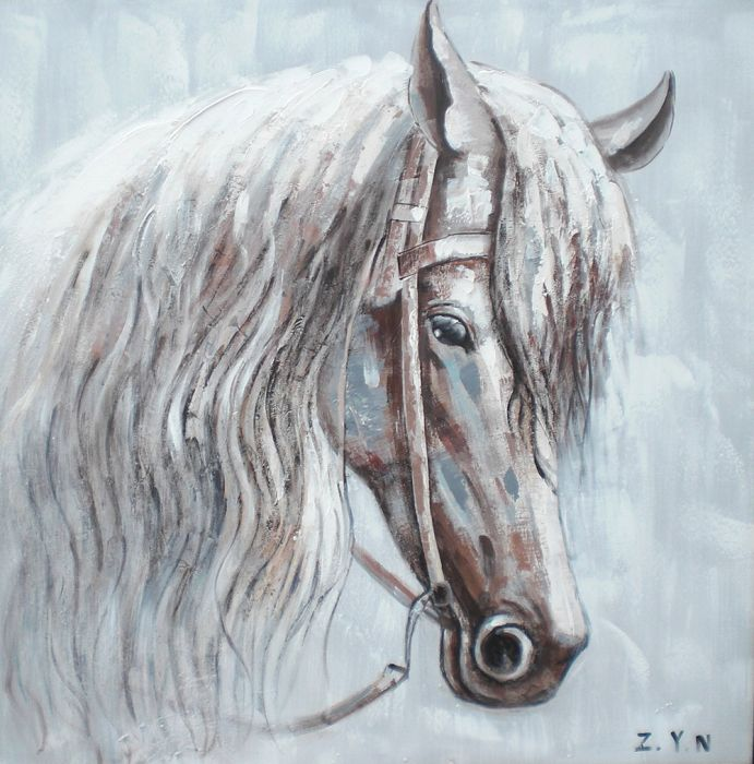Dieren Schilderijen: Schilderij Pastelkleurig Paard 80x80