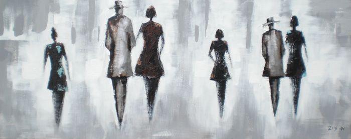 Figuratieve Schilderijen: Schilderij Figuranten Zwart Grijs 150x60