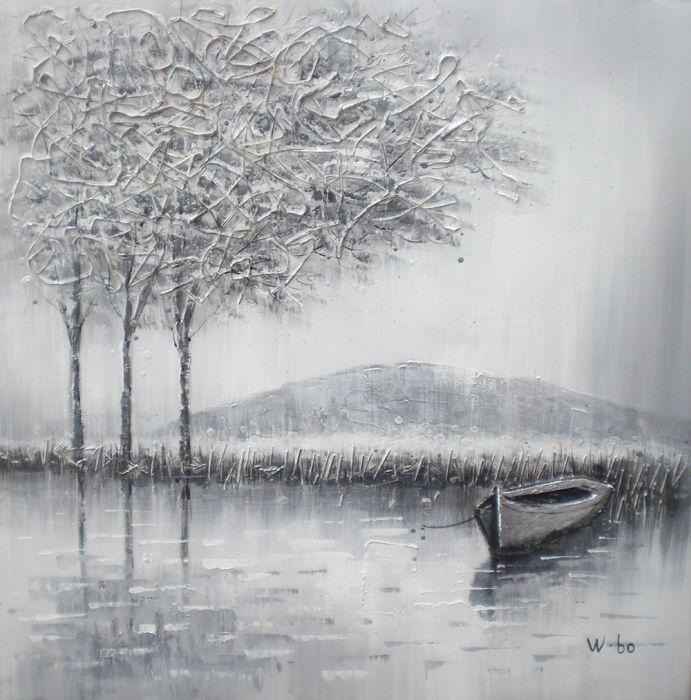 Landschappen Schilderijen: Schilderij Bergachtig Landschap 100x100