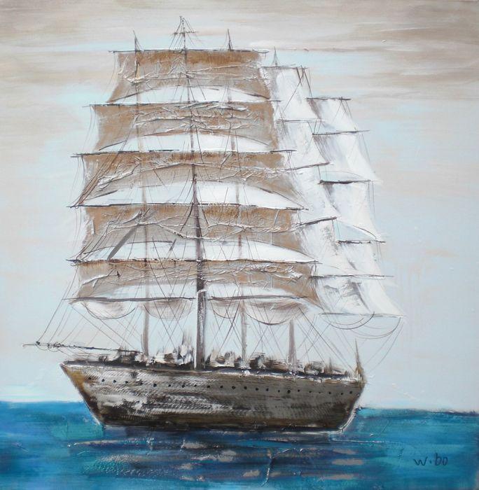 Rijtuigen Schilderij: Schilderij Grote Zeilboot 100x100