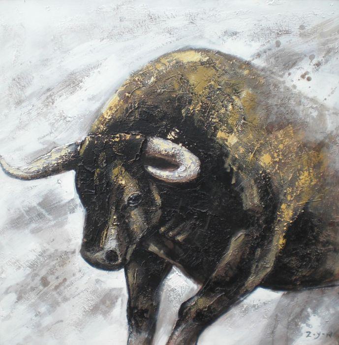 Dieren Schilderijen: Schilderij Bruine Gouden Stier 100x100