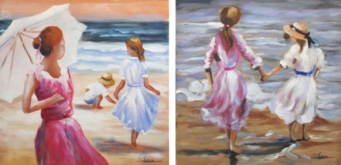 Kleurrijke Schilderijen: Schilderij strandzicht kunst – Handgeschilderd olieverf