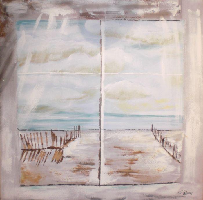 Zeezicht Schilderijen: Raam Zeezicht Kunst Oceaan Olieverf Schilderij 100x100