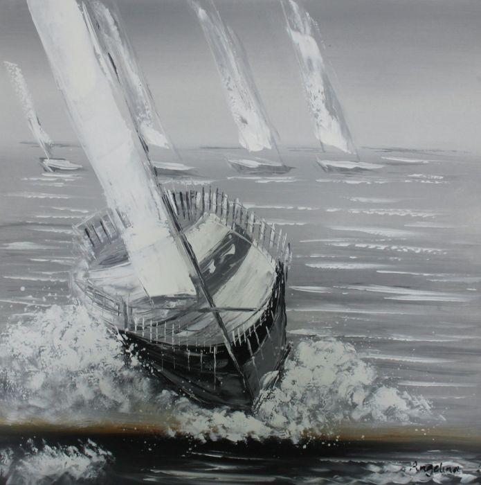 Landschappen Schilderijen: Handgeschilderde Olieverf Schilderij Race Zeilboten Grijs Oceaan 100x100