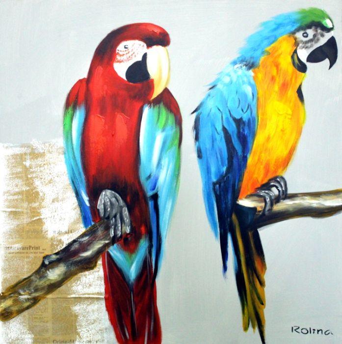 Dieren Schilderijen: Twee Papegaaien Schilderij|Twee Papegaaien Schilderij