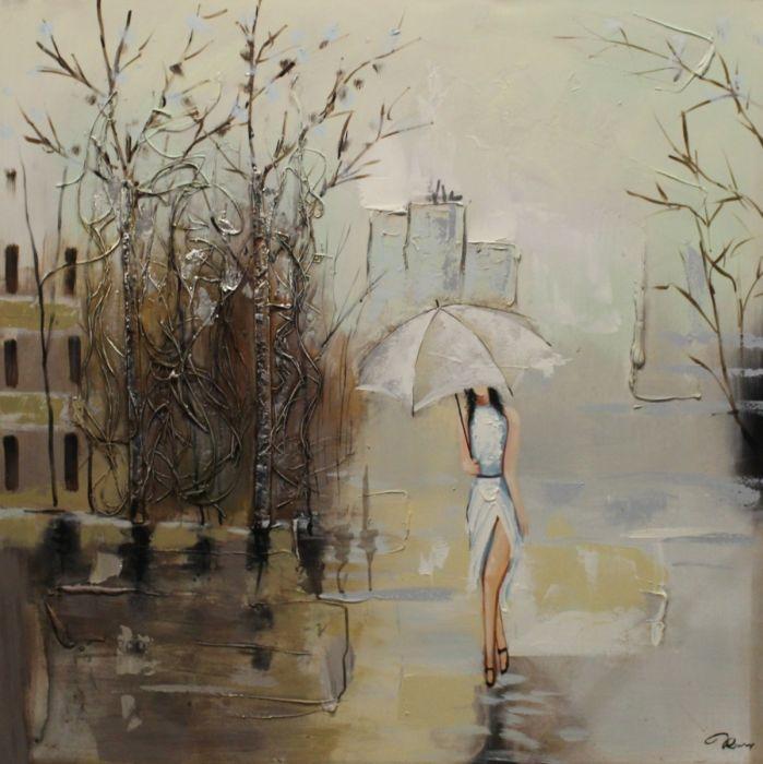 Figuratieve Schilderijen: Vrouw Witte Paraplu Witte Jurk Olieverf Schilderij 100x100