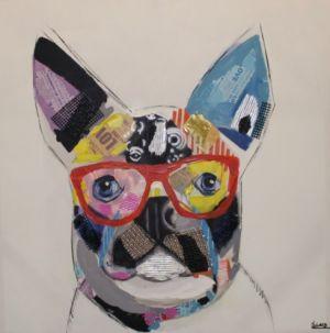 Schilderij kleurrijke hond 80x80