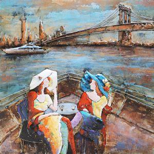 Metaal schilderij twee varende dames 100x100