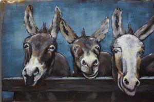 Metaal schilderij drie grijze ezels 120x80