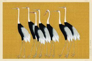 Houten schilderij kraanvogels
