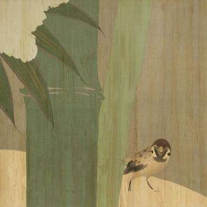 Houten schilderij mus en bamboe