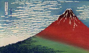 Houten schilderij vulkaan