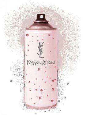 Roze Yves Saint Laurent Spuitbus Glas Schilderij Goudfolie 60x80