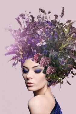 Lavendel Lila Vrouw Bloemen Glas Schilderij 80x80