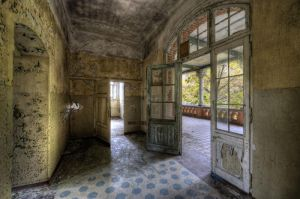 Vloer hallen Beelitz Heilstatten Ziekenhuis Verlaten Kunst 160x110