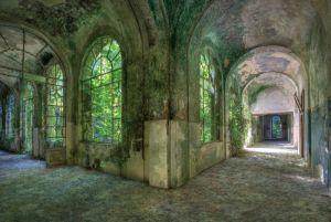 Hallen Verlaten Groen Botanisch Glas Schilderij 160x110