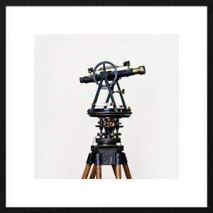 Forex schilderij telescoop met zwarte baklijst