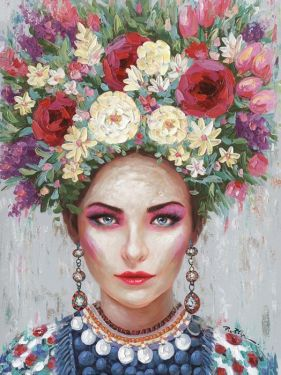 Bloemen Veld Weide Pastel Kleuren Olieverf Schilderij 140x70