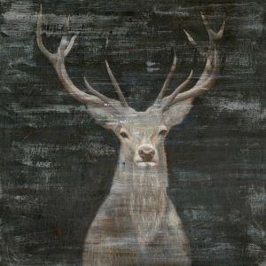 Gewei Hert Zwarte Achtergrond Olieverf Kunst 120x120
